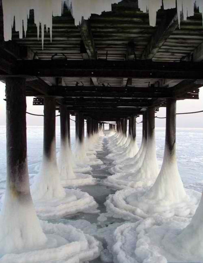 Frozen Sea and Pier, Odessa, Ukraine