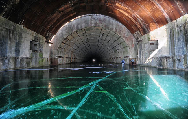 Frozen Soviet Submarine Base