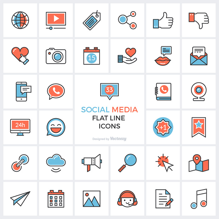 Social Media Flat Line Icon Set