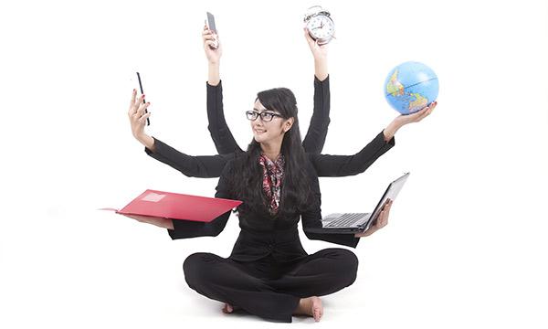 A woman multitasking