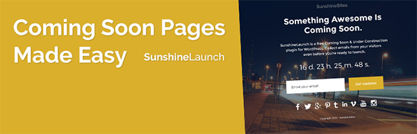 Coming-soon Pages – Sunshine Launches
