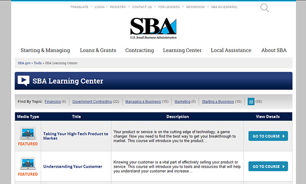 US Small Business Administration Learning Center