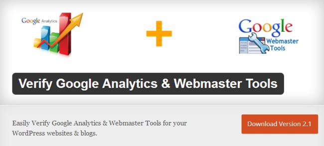 Verify Google Analytics & Webmaster Tools