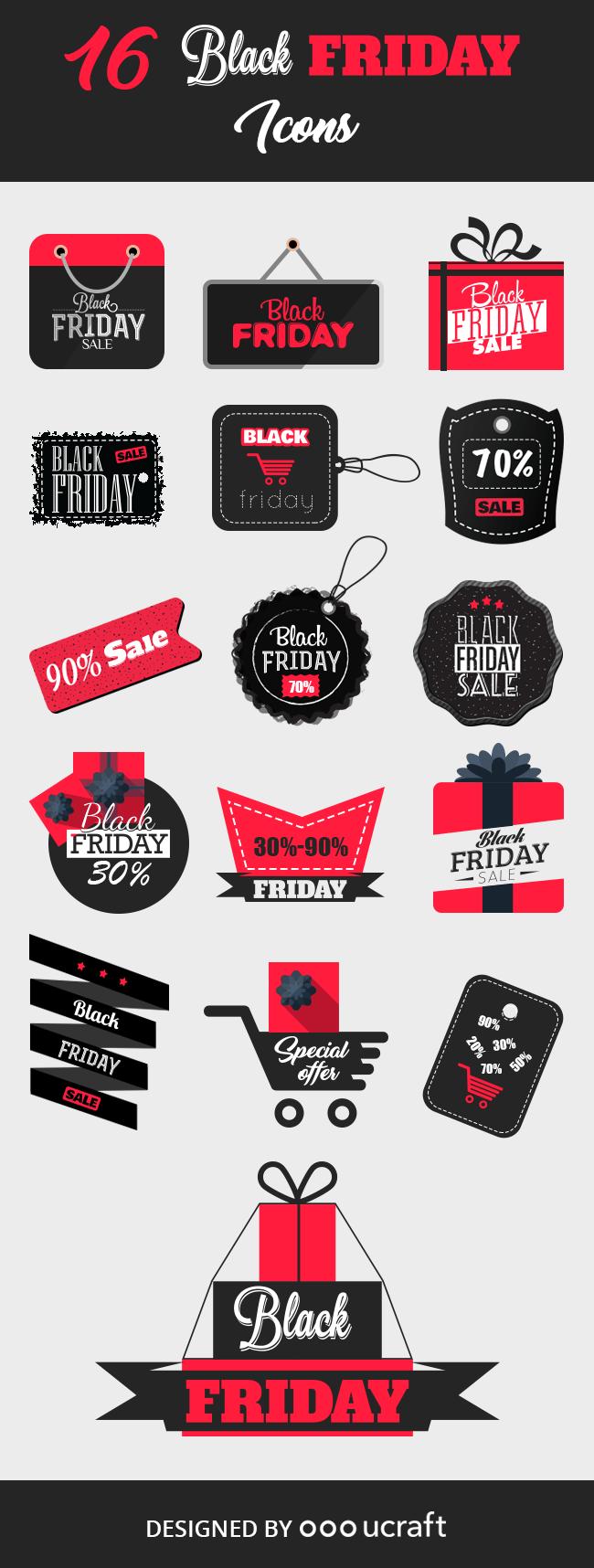 Black Friday Sticker Icons