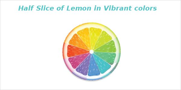 Half Slice of Lemon in Vibrant colors