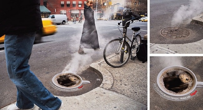 A creative idea of Folger to turned a sewer into a steaming cup of coffee.