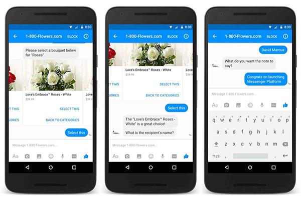 1-800-Flowers Chatbot on Facebook Messenger
