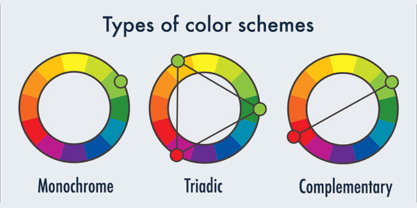 3 Types of color schemes for infographic.