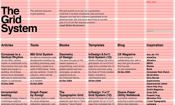How the grid system is used in graphic design.