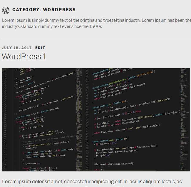 New WordPress Category