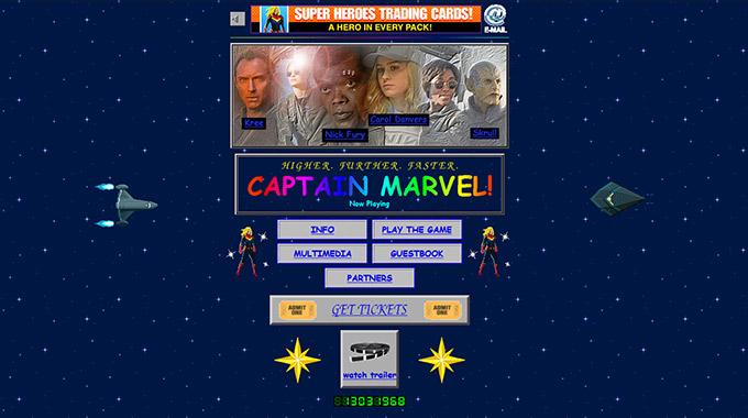 Captain Marvel Movie Page on Marvel Website