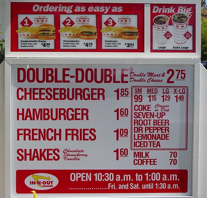 In-N-Out menu
