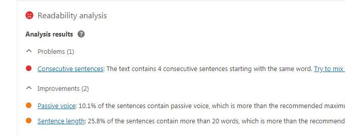 An example of the way Yoast analyzes readability.