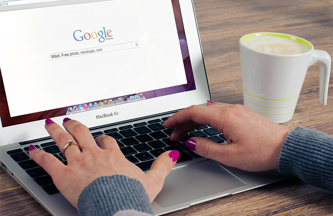 A person searching something on Google.