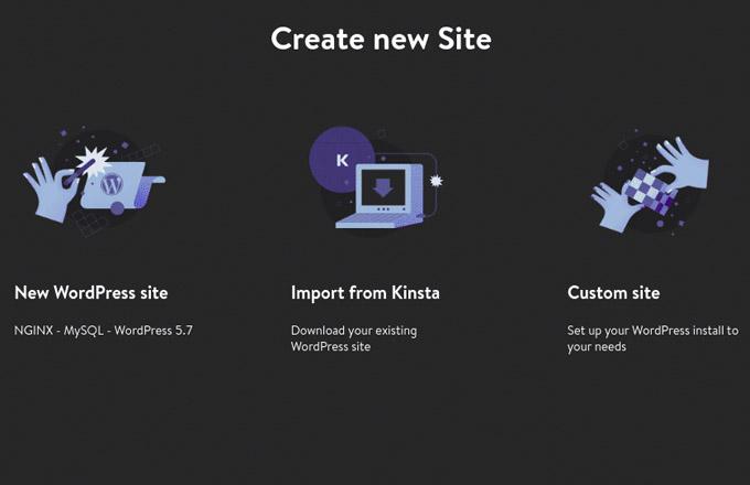 Create New Site with DevKinsta