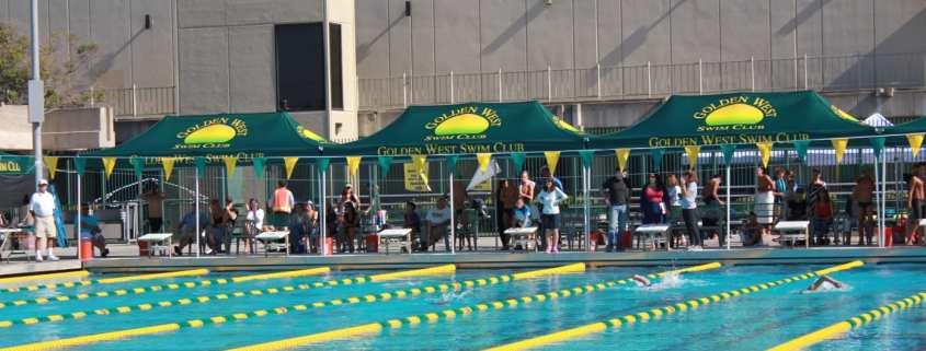 printed pop up tent - golden west swim club