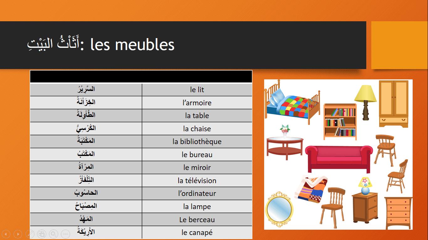 Les meubles de la maison en arabe pdf