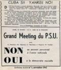Appel à manifester contre l'impérialisme américain In Sorbonne Action N°1, Novembre 1962