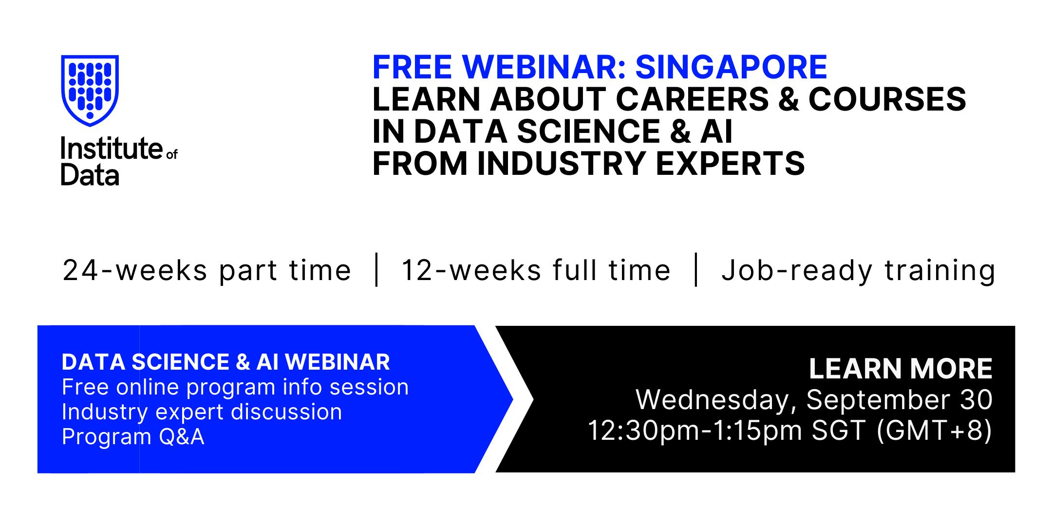 Institute of Data Singapore - Data Science Program - Online Info Session - September 30 2020