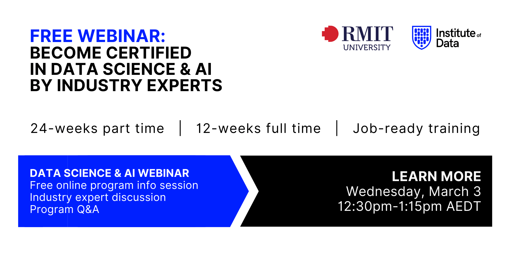 Institute of Data RMIT - Data Science and AI Program - Online Info Session - March 3 2021