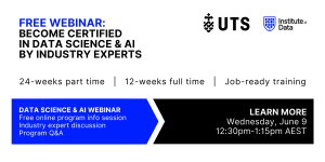 Institute of Data UTS - Data Science and AI Program - Online Info Session - June 9 2021