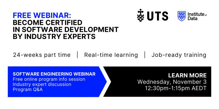 Institute of Data UTS - Software Engineering Program - Online Info Session - November 3 2021