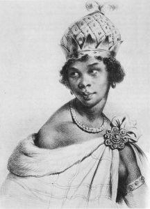 Nzinga usando elementos da cultura europeia e africana em uma gravura do século XVIII.