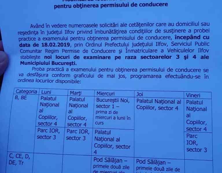 Modificarea locurilor de examinare pentru obtinerea permisului de conducere