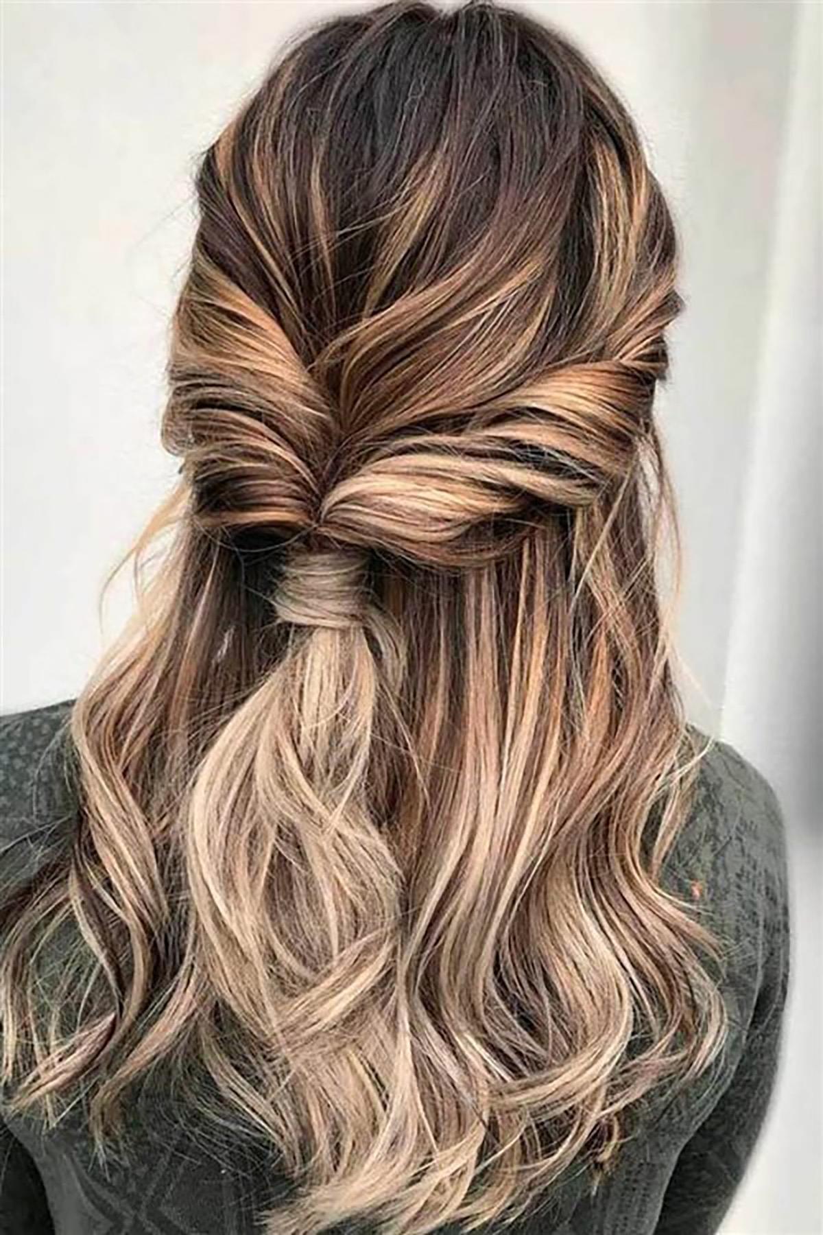 peinados para cabello largo medio cabello recogido