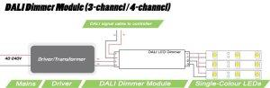 Multichannel DALI dimmer module | 4 x 5 amp output