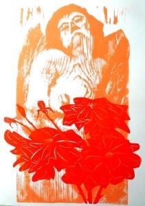 Gianni Verna Non amo che le rose che non colsi G. Gozzano xilografia mm 660 x 370 - 2015