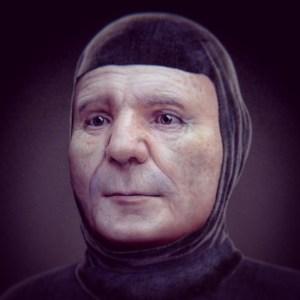Il viso di Petrarca ricostruito con tecniche analogiche, come è apparso nella mostra Facce: i molti volti della storia umana (Padova, 2015).