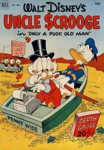 4.Sulla copertina di Four Color 386, il primo albo dedicato a Zio Paperone, Carl Barks riunisce i protagonisti delle sue storie in un'immagine decisamente eloquente (1952)