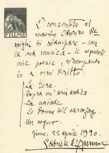 Letter by d'Annunzio to Francesco Bongiovanni, Fiume 1920