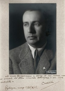 Photograph of Alfredo Casella with dedication to Francesco Bongiovanni, Bologna 1938