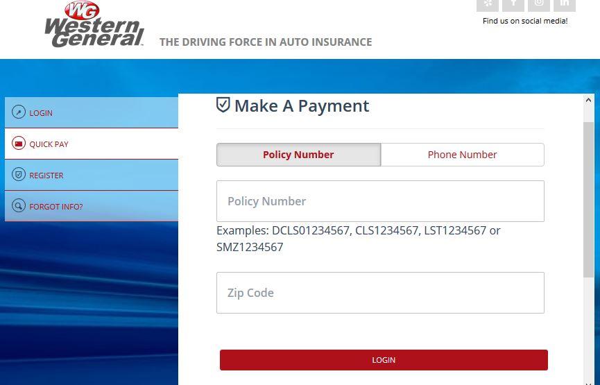 Western General Insurance Bill Payment