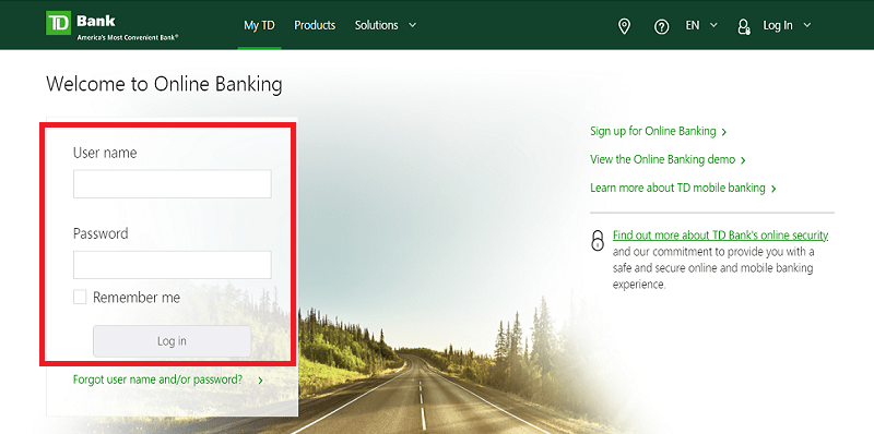 td bank log in
