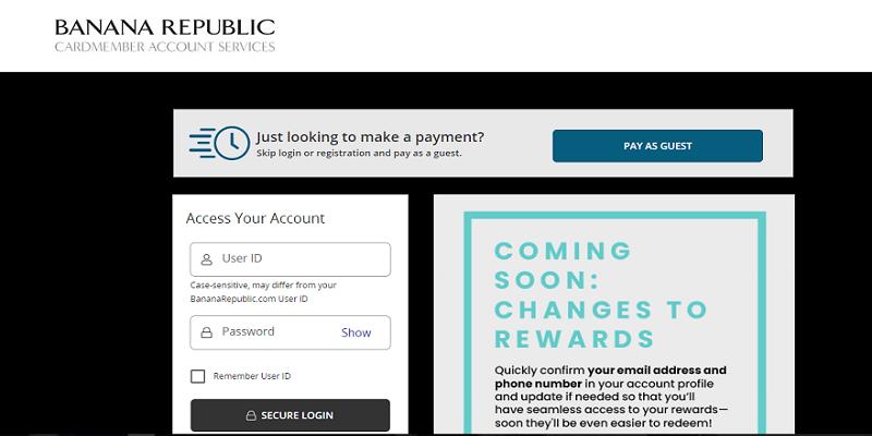 Banana Republic Credit Card Login