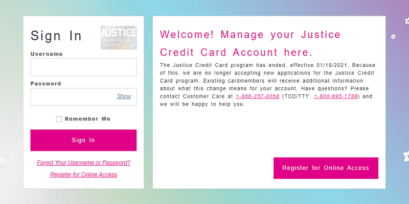 Justice Credit Card login