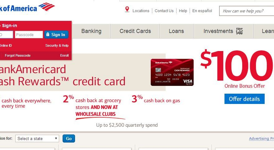BankAmericard Cash Rewards Credit Cards