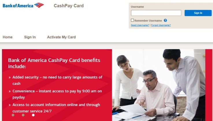 Bank of America CashPay Visa Card