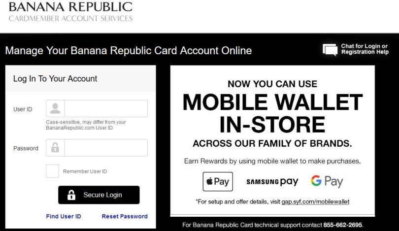 Pay Banana Republic Credit Card Bill