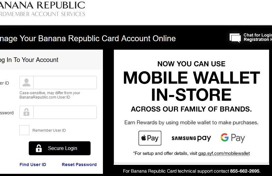 Pay Banana Republic Credit Card Bill