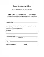 M114G – Genitalia Exam Certificate