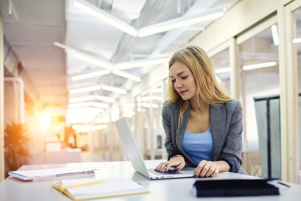 Cloud Computing Girl at desk image