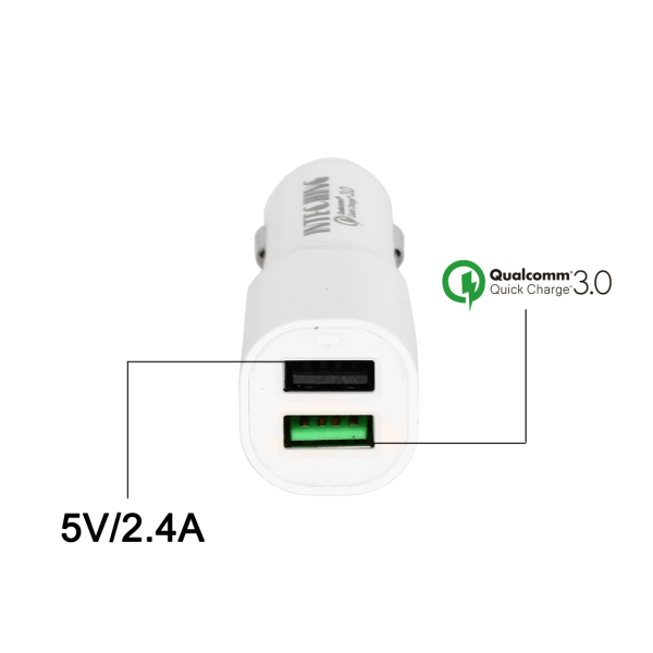 InTeching V1 Quick Charge 3.0 Rapid Car Charger (White)