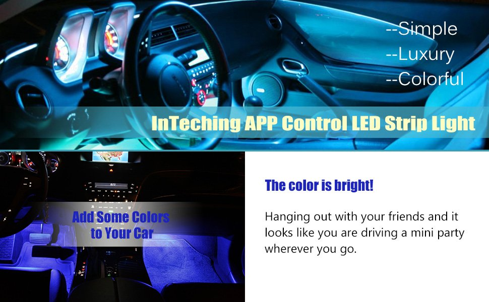 Inteching app control bluetooth led strip lights for cars inteching this is inteching 4 piece with 48 leds car interior light gorgeous and perfect interior light modification kit for your car aloadofball Image collections