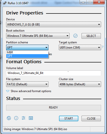 select Gpt in Rufus interface