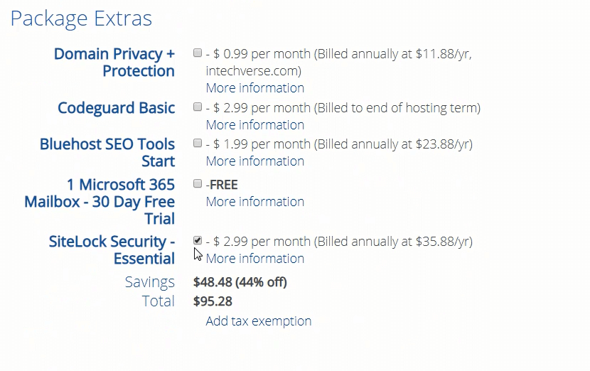 bluehost hosting add on features