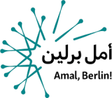 Logo for refugee news website Amal, Berlin! with Arabic writing.